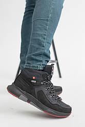 Мужские кроссовки кожаные зимние черные Splinter Б 0620  на меху