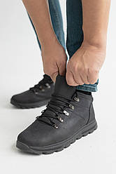 Мужские кроссовки кожаные зимние черные Emirro 011 на меху