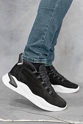 Мужские кроссовки кожаные зимние черные-нубук New Mercury Флек