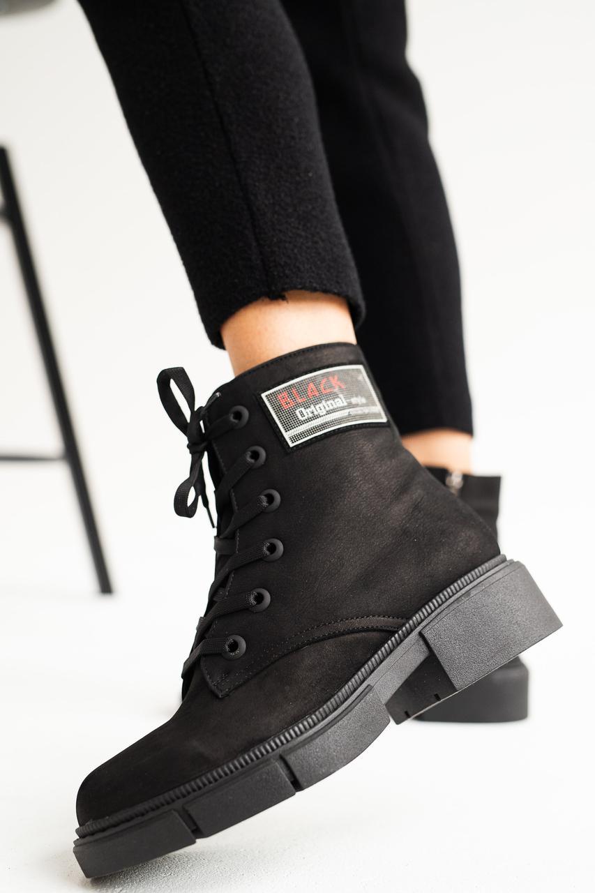 Жіночі черевики шкіряні зимові чорні матові Topas Casual 11113
