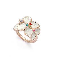 Кольцо БЕЛОЕ ЛЕТО ювелирная бижутерия золото 18К декор кристаллы Swarovski