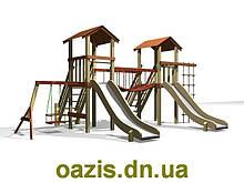 """Детская площадка """"Мостик"""" с деревянными крышами"""