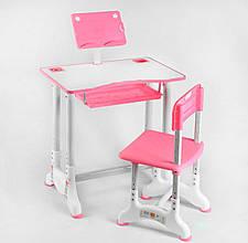 Комплект парта зі стільцем регулюється висота і кут нахилу стільниці, є підставка C 44559, колір рожевий