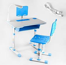 Парта зі стільчиком в комплекті з лампою, регулюється нахил і висота USB C 44557, колір синій