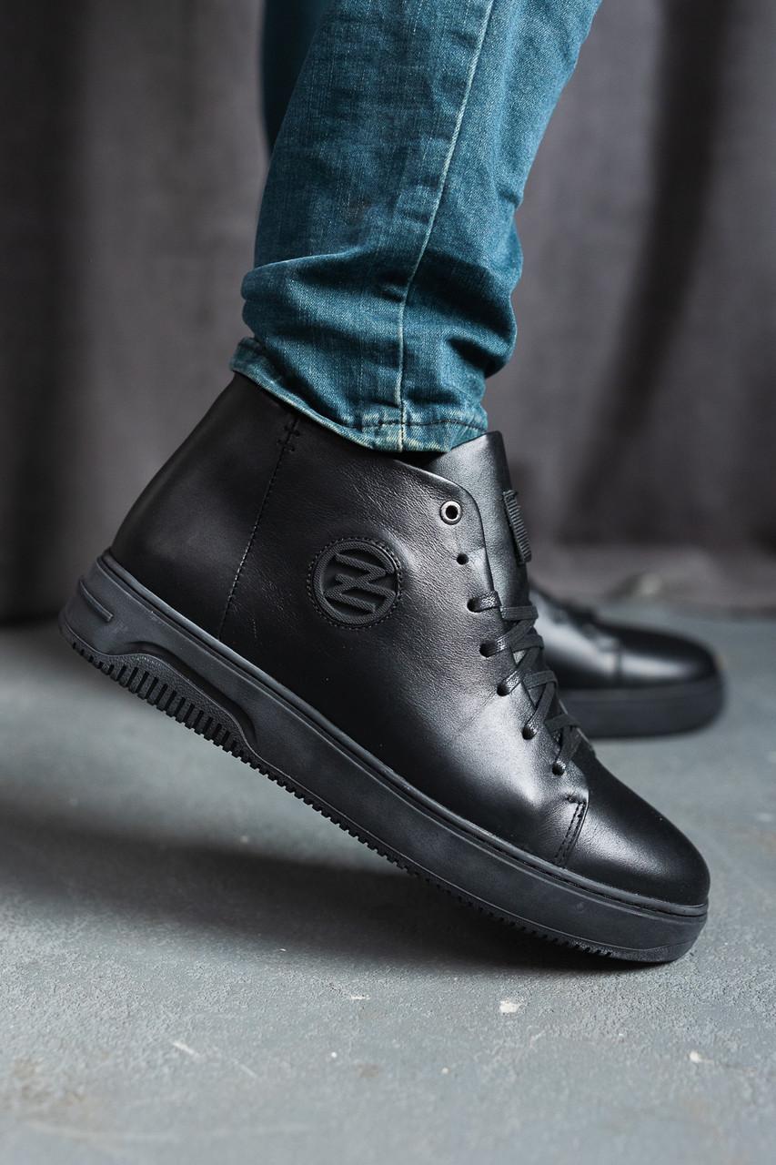 Мужские ботинки кожаные зимние черные Zangak 162 чл+чп