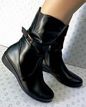 Жіночі шкіряні напівчоботи на широку ногу