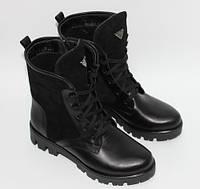 Женские ботинки со шнурками на тракторной подошве, натуральная кожа и замш