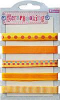 Набор лент декоративных с узором, 1 см (5шт/100см), оттенки жёлтого