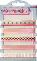 Набор лент декоративных с узором, 1 см (5шт/100см), оттенки розового