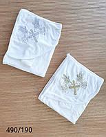 """Полотенце для крестин  с перчаткой """"Ангелы"""" Турция Оптом"""