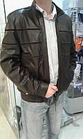 Коричневая кожаная мужская куртка с замшевыми вставками