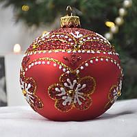 """Новогодний ёлочный шар из стекла 80 мм """"Цветочный орнамент"""""""