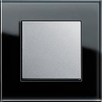 Выключатель одноклавишный Gira Esprit Черное стекло/Алюминий