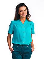 Праздничная женская блуза с коротким рукавом воротник стойка