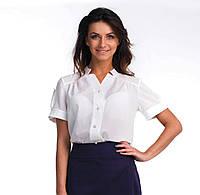 Отличная женская блуза офисного стиля с коротким рукавом