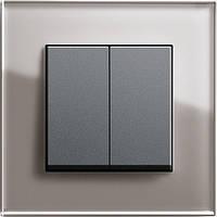 Выключатель двухклавишный Gira Esprit Дымчатое стекло/Антрацит