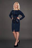Женское тёплое платье приталенного покроя-реглан с застёжкой спереди
