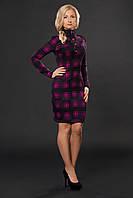 Женское тёплое осеннее платье приталенного покроя с длинным рукавом