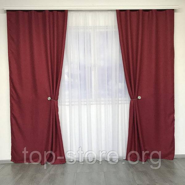 Готовый комплект штор мешковина блэкаут на тесьме 150х270 см с тюлем шифон 400х270 см Цвет Бордовый