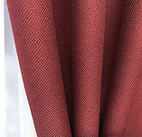 Готовий комплект штор мішковина блекаут на тасьмі 150х270 см з тюлем шифон 400х270 см Колір Бордовий, фото 4
