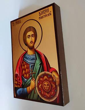 Чоловіча іменна ікона Святої Валерій розмір 10 х 14 см з нанесенням позолоти (поталь), фото 2