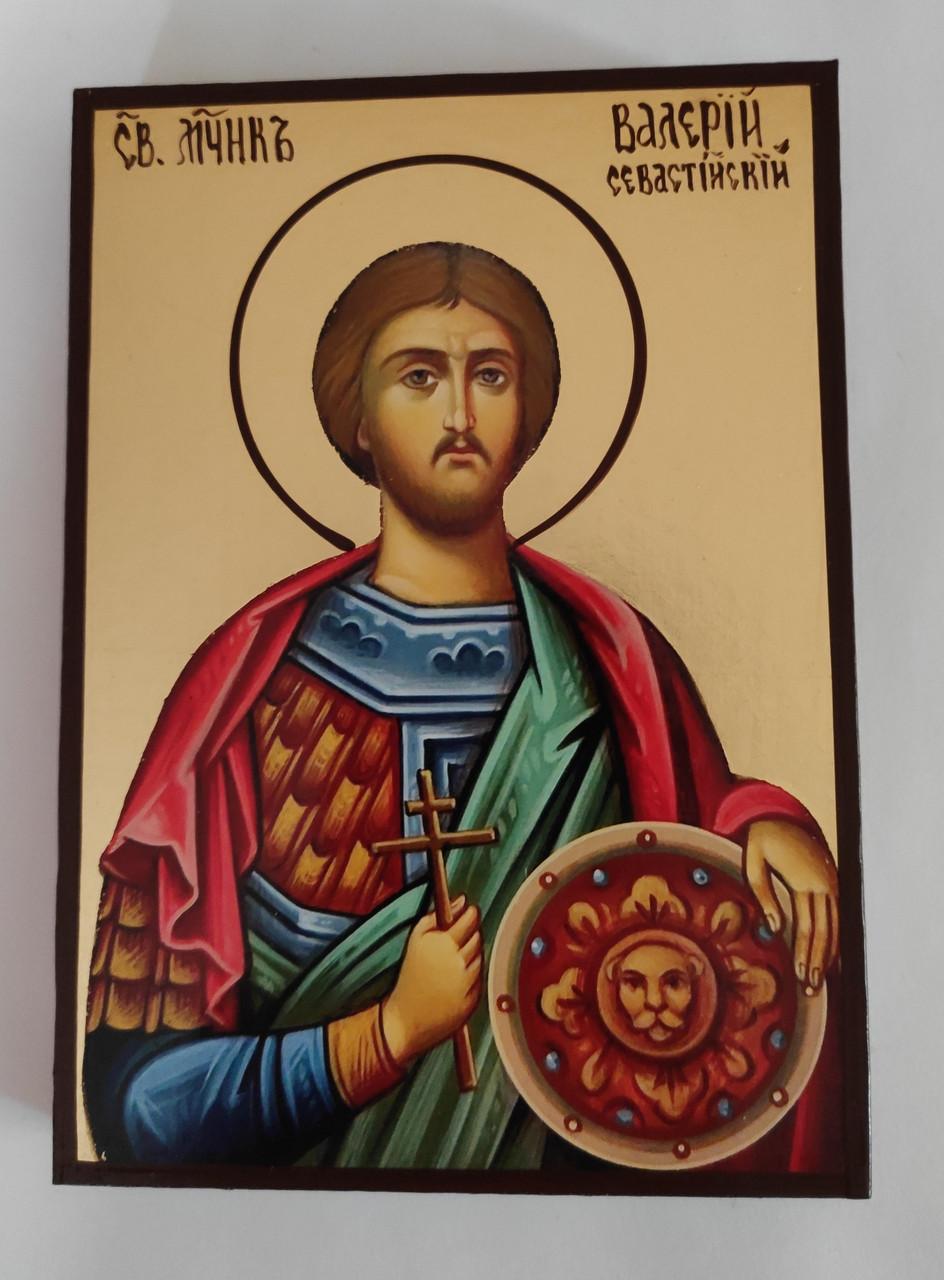 Чоловіча іменна ікона Святої Валерій розмір 10 х 14 см з нанесенням позолоти (поталь)