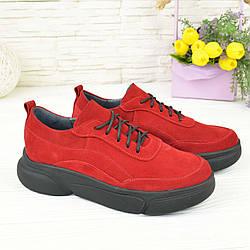 Кроссовки женские замшевые на утолщенной подошве, цвет красный