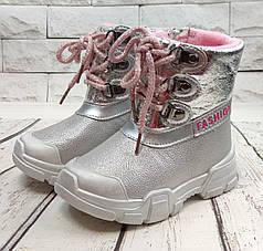 Детские зимние дутики на зиму для девочки сапоги серебро 24р 15см