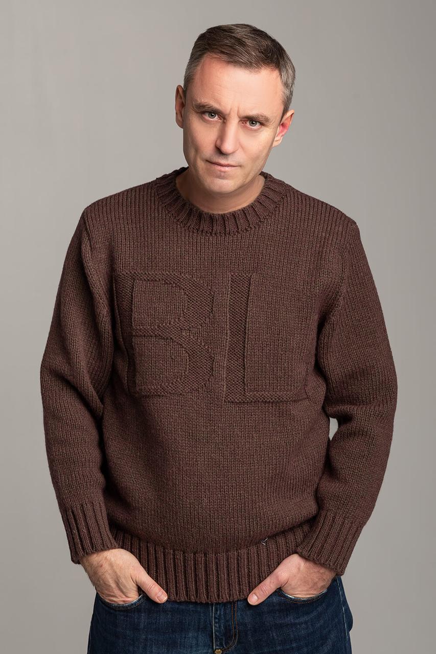 Зимний мужской шерстяной свитер Антонио Берта Луччо цвета Мокко Италия размеры  L-XL, 2XL, 3XL