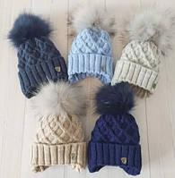 Детская зимняя вязанная шапочка, для малышей