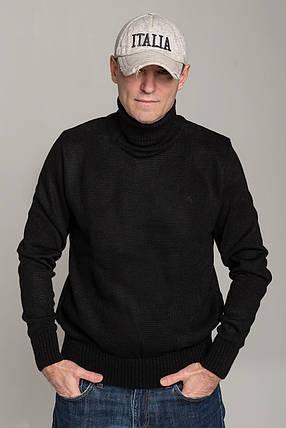 Зимний стильный свитер-гольф с высоким горлом Поло черного цвета Италия  размеры  L XL XXL XXXL, фото 2