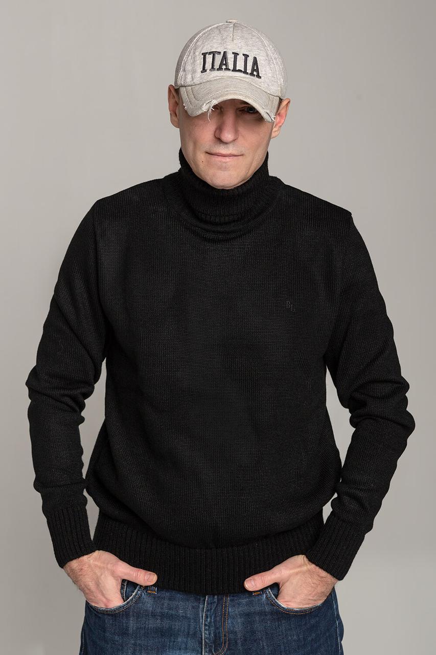 Зимний стильный свитер-гольф с высоким горлом Поло черного цвета Италия  размеры  L XL XXL XXXL