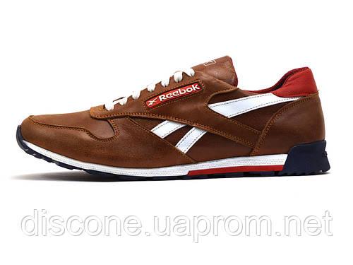 Кроссовки Reebok мужские, кожаные, коричневые