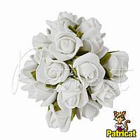 Розы Белые из фоамирана (латекса) на проволоке 3 см 10 шт/уп
