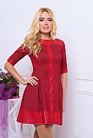 Стильное короткое платье с элементами из кожи, фото 1