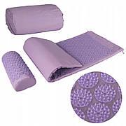 Килимок акупунктурний з валиком SportVida Аплікатор Кузнєцова 130 x 50 см SV-HK0411 Purple/Purple