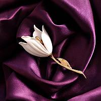 Лаконичная брошь Тюльпан белый, фото 1