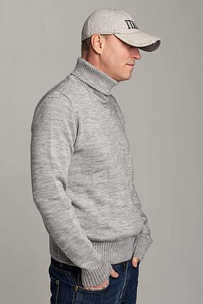 Зимний стильный свитер-гольф с высоким горлом Поло серого цвета Италия  размеры  L XL XXL XXXL, фото 2