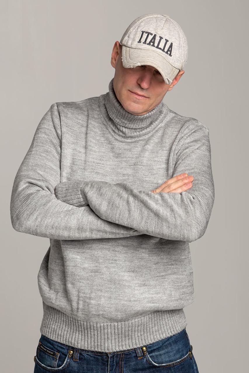Зимний стильный свитер-гольф с высоким горлом Поло серого цвета Италия  размеры  L XL XXL XXXL