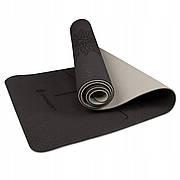 Килимок (мат) для йоги та фітнесу Springos TPE 6 мм YG0013 Black/Grey