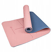Килимок (мат) для йоги та фітнесу Springos TPE 6 мм YG0014 Pink/Blue