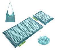 Килимок акупунктурний з подушкою 4FIZJO Eco Mat Аплікатор Кузнєцова 68 x 42 см 4FJ0180 Turquoise/Turquoise