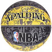 М'яч баскетбольний Spalding NBA Graffiti Outdoor Grey/Yellow Size 7