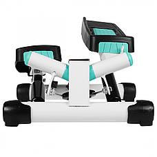 Степпер поворотный (мини-степпер) с эспандерами SportVida SV-HK0361 White/Turquoise, фото 2