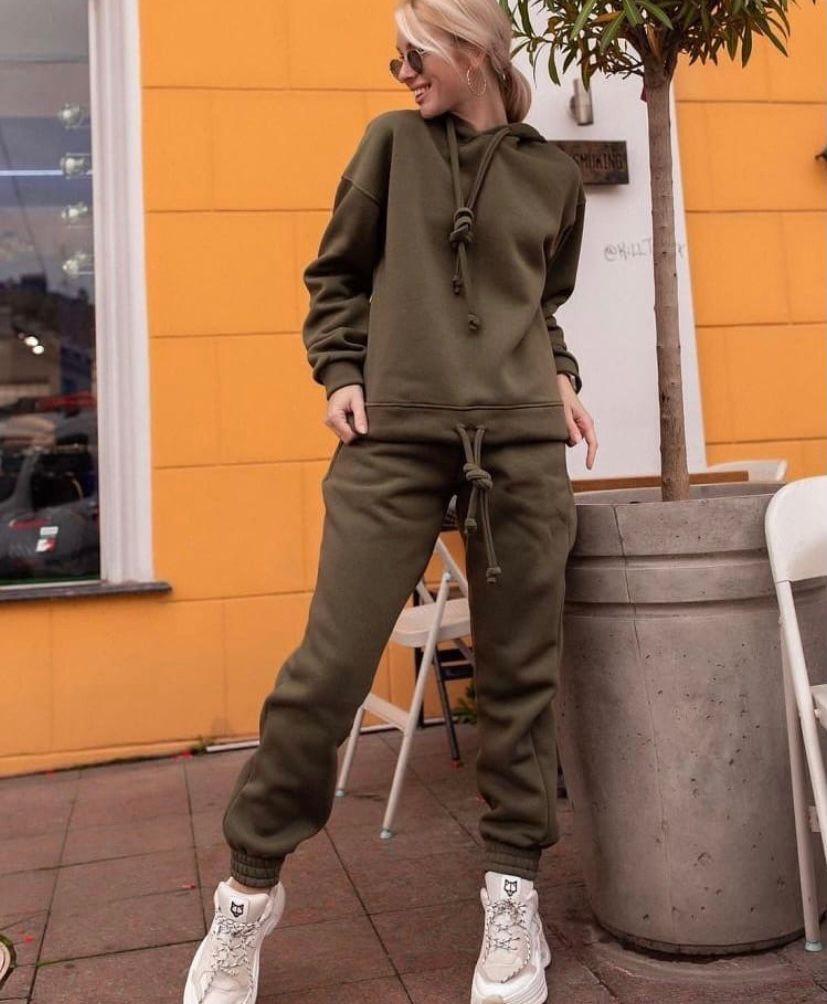 Жіночий спортивний костюм теплий стильний + штаныхаки м'ята беж 24-70 розміру
