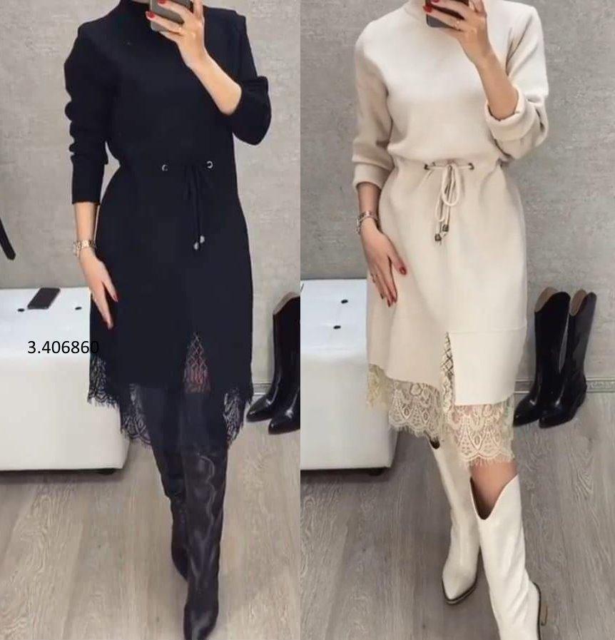 Осеннее женское платье с кружевом под шею на завяз по колено  36-70 размера