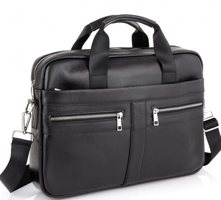 Мужская кожаная сумка для ноутбука и документов Tiding Bag MK 3328 черная