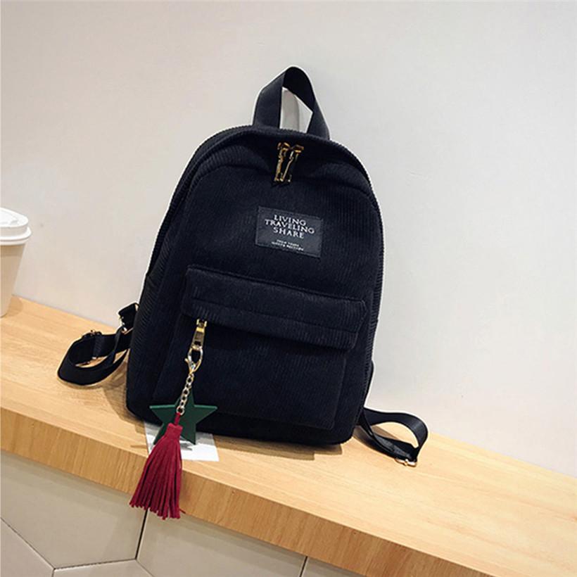 Женский черный вельветовый рюкзак с брелком код 3-424