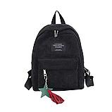Женский черный вельветовый рюкзак с брелком код 3-424, фото 2
