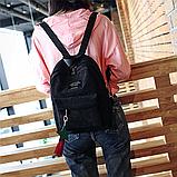 Женский черный вельветовый рюкзак с брелком код 3-424, фото 3